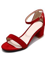 女性用 靴 レザーレット 春 夏 コンフォートシューズ サンダル チャンキーヒール オープントゥ のために カジュアル アウトドア ブラック イエロー レッド アーモンド