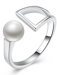 abordables -Femme Imitation de perle / S925 argent sterling Cuff Anneau - Forme Géométrique Classique / Basique Argent Bague Pour Quotidien / Travail