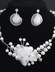 cheap -Women's Crystal Rhinestone Pearl Floral Jewelry Set 1 Necklace Earrings - Floral Fashion European Flower Silver Jewelry Set For Wedding