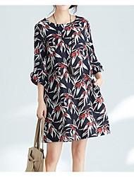 baratos -Mulheres Moda de Rua Evasê Vestido Floral Altura dos Joelhos
