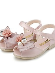 cheap -Girls' Shoes Leatherette Summer Comfort Sandals Bowknot / Pearl for Light Purple / Pink