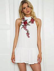 preiswerte -Damen Baumwolle Hülle Kleid - Druck, Blumen Übers Knie