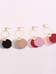 baratos -Mulheres Incompatibilidade Brincos Compridos - Incompatibilidade / Fashion / Europeu Cinzento / Vermelho / Rosa claro Formato Circular