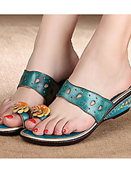 cheap -Women's Shoes Cowhide Spring Summer Comfort Sandals Wedge Heel for Casual Blue