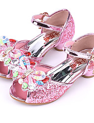 cheap -Girls' Shoes Sparkling Glitter Summer Comfort / Novelty / Flower Girl Shoes Sandals Rhinestone / Bowknot / Buckle for Gold / Blue / Pink