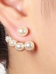 cheap -Women's Imitation Pearl Stud Earrings Front Back Earrings - Vintage Fashion Gold Silver Rose Gold Circle Earrings For Daily Work