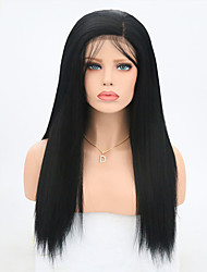 cheap -Synthetic Lace Front Wig Yaki Straight Black Women's Lace Front Natural Wigs Long Synthetic Hair