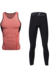 baratos -Homens activewear Set - Azul, Vermelho / Branco, Cinzento Esportes Sólido Leggings / Conjuntos de Roupas Fitness Sem Manga / Pant Long Roupas Esportivas Respirabilidade Com Stretch