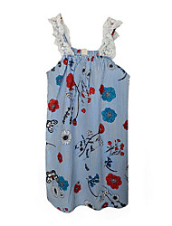 cheap -Girl's Floral Dress, Polyester Summer Sleeveless Simple Light Blue