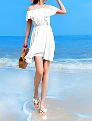 baratos -Mulheres Fofo Moda de Rua Evasê Vestido Sólido Acima do Joelho