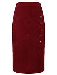 cheap -Women's Going out Basic Plus Size A Line Skirts - Solid Colored High Waist