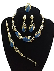 cheap -Women's Oversized Drop Jewelry Set 1 Necklace / 1 Bracelet / 1 Ring - Vintage / Oversized / Statement Brown / Blue / Pink Jewelry Set /