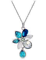 baratos -Mulheres Cristal / Zircônia Cubica Colares com Pendentes - Cristal, Zircão, Prata Chapeada Flor Fashion, Elegante Azul Colar Para Cerimônia, Formal