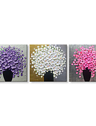 cheap -Oil Painting Hand Painted - Still Life Floral / Botanical Comtemporary Modern Canvas Three Panels