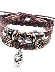 cheap -Men's Leather Fish Wrap Bracelet - Fashion Rock Brown Bracelet For Daily