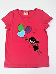 cheap -Girls' Daily Print Color Block Tee, Cotton Summer Short Sleeves Cute Active Green Fuchsia