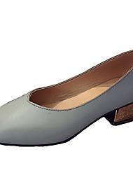 女性用 靴 PUレザー 春 夏 コンフォートシューズ ヒール チャンキーヒール スクエアトゥ のために カジュアル ベージュ グレー