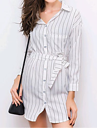 cheap -Women's Cotton Shirt Dress - Striped Embroidered Shirt Collar