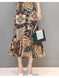 Žene Bodycon Suknje - Jednobojni Cvjetni print, Drapirano