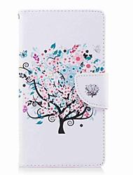 baratos -Capinha Para Sony Xperia L2 Xperia XA2 Ultra Porta-Cartão Carteira Com Suporte Flip Estampada Capa Proteção Completa Flor Árvore Rígida