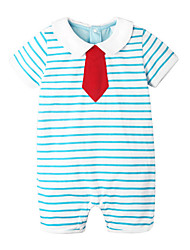 cheap -Baby Unisex Daily Holiday Striped One-Pieces, Cotton Spring Summer Simple Active Half Sleeves Short Sleeve Gray Light Blue