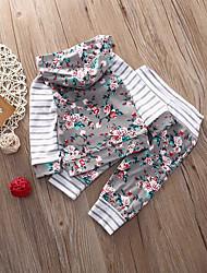 abordables -bébé Ensemble de Vêtements Fille Quotidien Rayé Fleur Coton Spandex Printemps Manches Longues Décontracté Actif Blanc