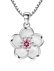 cheap -Women's Flower Cubic Zirconia Zircon Pendant Necklace  -  Fashion Sweet Silver Necklace For Party Daily