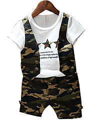 cheap -Boys' Daily Going out Print Clothing Set, Rayon Summer Short Sleeves Casual Street chic Army Green