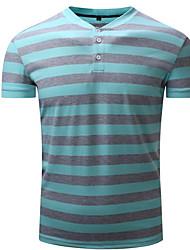 preiswerte -Herrn Gestreift T-shirt, Hemdkragen Druck