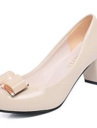 preiswerte -Damen Schuhe PU Sommer Komfort High Heels Blockabsatz Runde Zehe für Normal Schwarz Beige Rosa