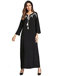 baratos -Mulheres balanço Vestido - Básico Bordado, Floral Estampa Colorida Longo