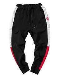 baratos -Calças de calças de harém-elástico normais de meados dos homens, masculinas, bloco de cor simples poliéster / algodão primavera / outono