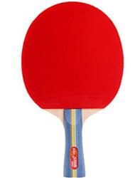abordables -DHS® E302 Ping Pang/Tennis de table Raquettes Bois Caoutchouc 3 étoiles Long Manche Boutons