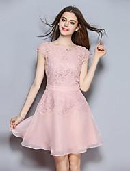 abordables -Mujer Bonito Sofisticado Línea A Vestido - Encaje, Un Color Mini