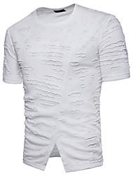 cheap -Men's Cotton T-shirt - Solid Colored, Jacquard Round Neck