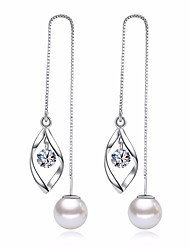 cheap -Women's Leaf Cubic Zirconia / Imitation Pearl Drop Earrings - Basic / Fashion Silver Earrings For Daily / Ceremony