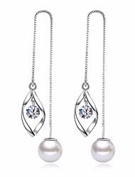 preiswerte -Damen Kubikzirkonia Tropfen-Ohrringe - Blattform Grundlegend, Modisch Silber Für Alltag / Zeremonie
