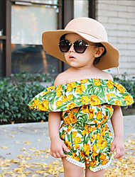 cheap -Girls' Going out Holiday Floral Jacquard Blouse, Rayon Spring Summer Short Sleeves Cute Boho Green