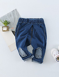 cheap -Baby Unisex Daily Solid Patchwork Pants, Cotton Spring Summer Cute Active Blue Black