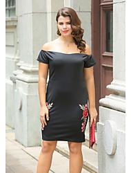 abordables -Femme Grandes Tailles Basique Sophistiqué Moulante Gaine Noir Robe Fleur Epaules Dénudées Au dessus du genou