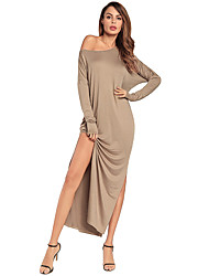 cheap -Women's Slim Bodycon Dress - Solid Color, Split High Waist Maxi One Shoulder
