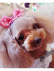 economico -Prodotti per gatti Tiare e coroncine Abbigliamento per cani Tinta unita Fiocco Viola Blu Rosa Tessuto Costume Per animali domestici Alla