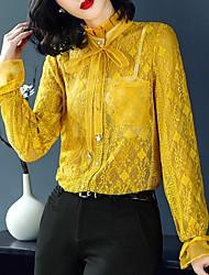 economico -Camicia Per donna Vintage / Moda città Pizzo / Traforato, Tinta unita Colletto alla coreana