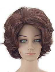 cheap -Synthetic Wig Kinky Curly Layered Haircut Synthetic Hair Natural Hairline Brown Wig Women's Short Capless