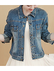 cheap -Women's Cute Cotton Denim Jacket - Solid Colored Shirt Collar