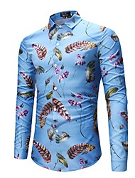 cheap -Men's Club Street chic / Punk & Gothic Cotton Shirt - Feathers Print / Long Sleeve