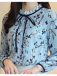 Недорогие -Жен. Оборки Блуза Цветочный принт Фонарь рукавом