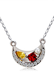 cheap -Women's Crystal / Cubic Zirconia Pendant Necklace  -  Crystal, Imitation Pearl, Zircon Moon Classic, Fashion Rainbow Necklace For Ceremony, Formal