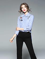 baratos -Mulheres Camisa Social Bordado, Listrado Colarinho de Camisa