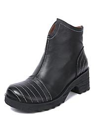 Недорогие -Жен. Обувь Кожа Зима Модная обувь Мокасины и Свитер На толстом каблуке Ботинки Черный